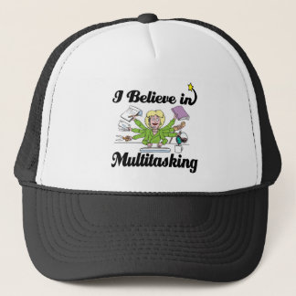 i believe in multitasking trucker hat