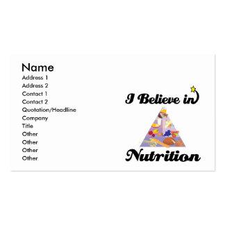 i believe in nutrition business card