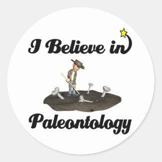 i believe in paleontology classic round sticker