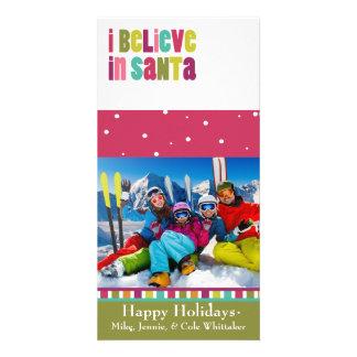 I believe in Santa Family Photo Christmas Card Custom Photo Card