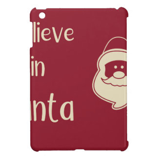 I believe in Santa words. Red background. Cover For The iPad Mini
