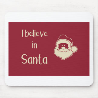 I believe in Santa words. Red background. Mouse Pad
