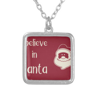 I believe in Santa words. Red background. Silver Plated Necklace