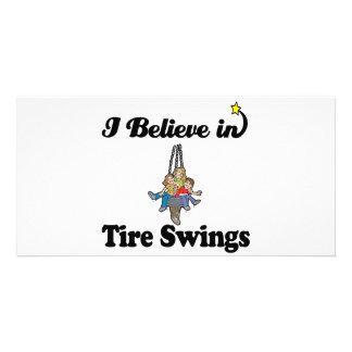 i believe in tire swings photo card