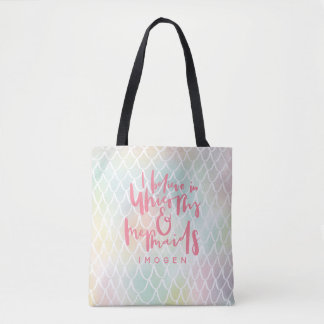 I BELIEVE IN UNICORNS AND MERMAIDS PINK TOTE BAG