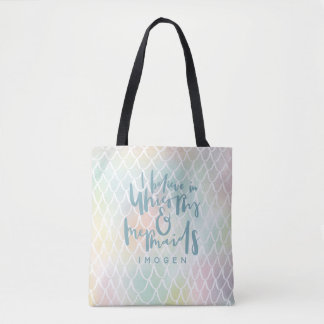 I BELIEVE IN UNICORNS AND MERMAIDS SEA BLUE TOTE BAG
