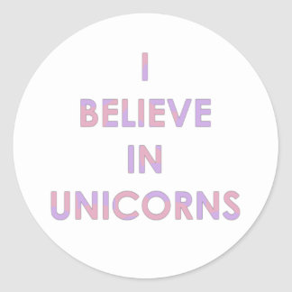 I Believe In Unicorns Pink and Purple Cotton Candy Classic Round Sticker