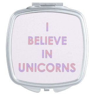 I Believe In Unicorns Pink and Purple Cotton Candy Mirror For Makeup