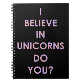 I Believe In Unicorns Pink and Purple Cotton Candy Notebook