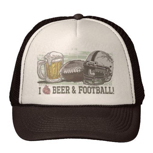 I bière et le football de coeur casquettes de camionneur