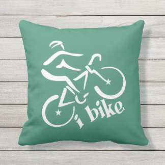 I BIKE custom color throw pillow