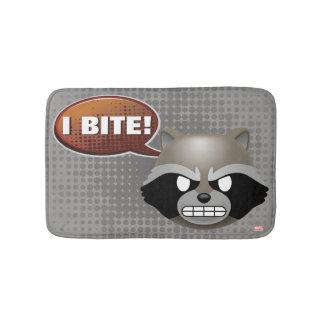 """I Bite"" Rocket Emoji Bath Mat"