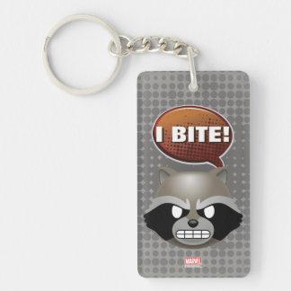 """""""I Bite"""" Rocket Emoji Double-Sided Rectangular Acrylic Keychain"""