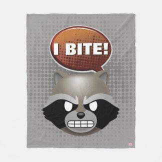 """I Bite"" Rocket Emoji Fleece Blanket"