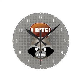 """I Bite"" Rocket Emoji Round Clock"