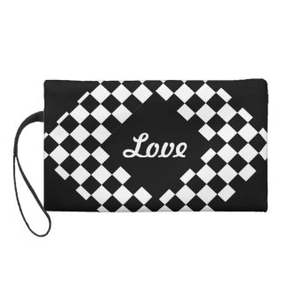 I Bleed Racing Black White Checkered Customize It Wristlet