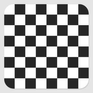 I Bleed Racing Check Black White Checkered Custom Square Sticker