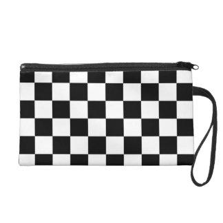 I Bleed Racing Check Black White Checkered Custom Wristlet