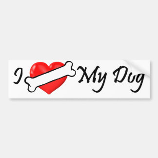 I (bone) heart my dog bumper sticker
