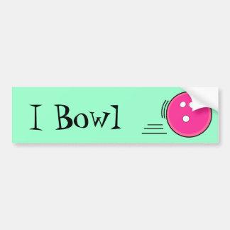 I Bowl Hot Pink Car Bumper Sticker