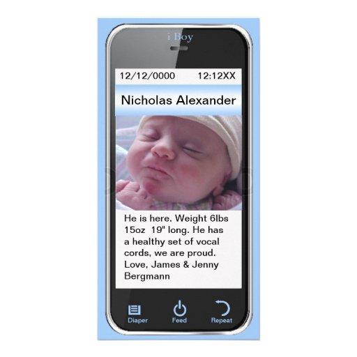 i Boy Modern Birth Announcement Photo Card Template
