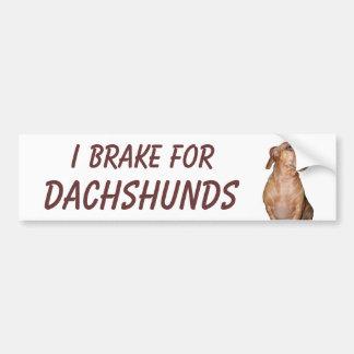 I BRAKE FOR DACHSHUNDS BUMPER STICKER