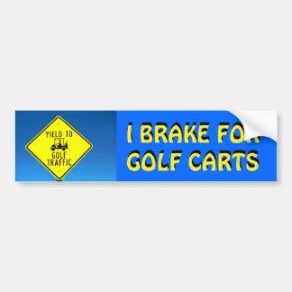 I Brake For Golf Carts Yellow Font Bumper Sticker