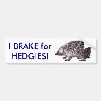 I Brake for HEDGIES! Save Hedgehogs Bumpersticker Bumper Sticker