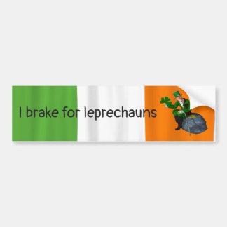 I Brake for Leprechauns St. Patrick's Day Bumper Sticker