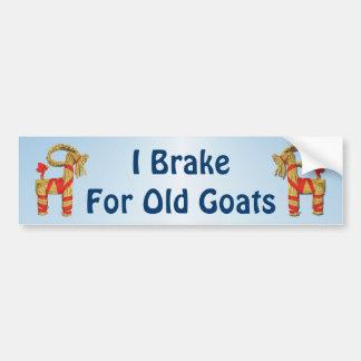 I Brake for Old Goats Funny Swedish Old Man Bumper Sticker