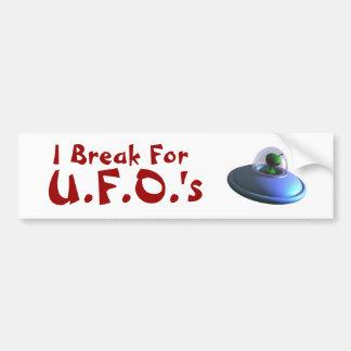I Break for UFOs (Cute) Bumper Sticker