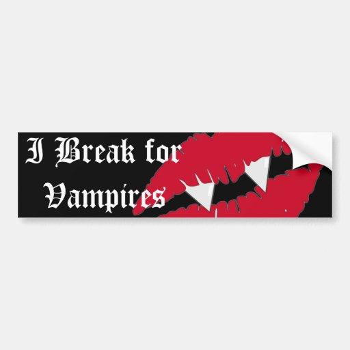 I break for Vampires Red Lips Bumper Bumper Stickers