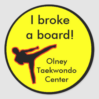 I broke a board round sticker
