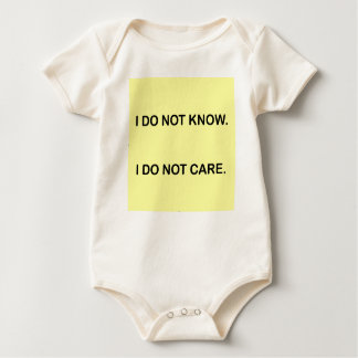 I C NOT KNOW. I C NOT CARE. BABY BODYSUIT