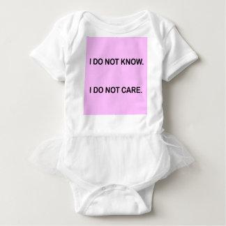 I C NOT KNOW I C NOT CARE BABY BODYSUIT