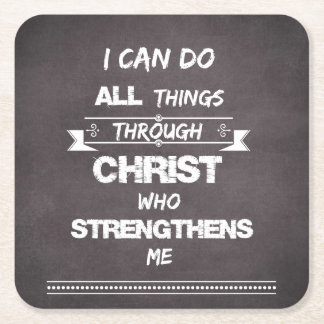 I Can do all things through Christ Bible Verse Square Paper Coaster