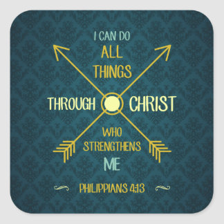 I Can Do All Things Through Christ Philippians 4 Square Sticker