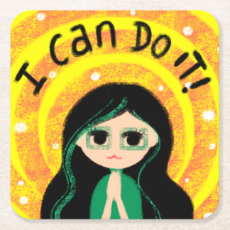 I Can Do It Happy Uplifting Positivity Painting Square Paper Coaster