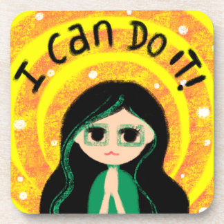 I Can Do It Uplifting Positivity Girl Painting Coasters