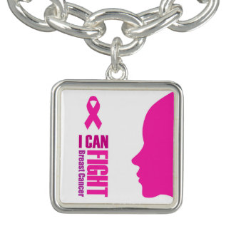I can fight breast cancer- support women charm bracelet