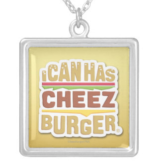 I Can Has Cheezburger (shadow) Silver Plated Necklace