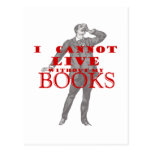 I cannot live without my books - male post cards