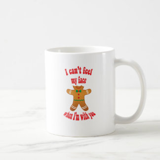 I can't feel my face - funny Christmas gingerbread Basic White Mug