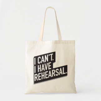 I can't. I have rehearsal. 80s-inspired block text Tote Bag