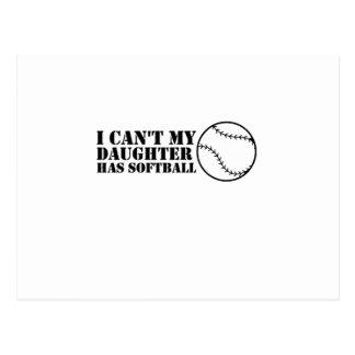 I Can't My Daughter Has Softball Softball Mom Dad Postcard