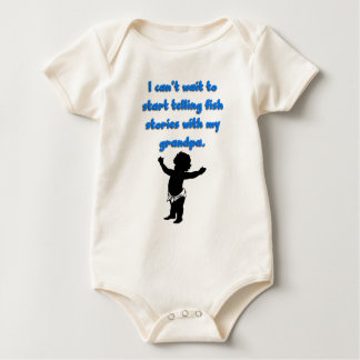I can't wait to start telling fish stories baby bodysuit