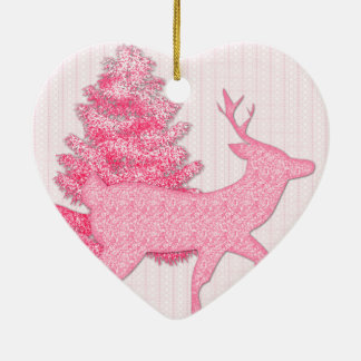 I Celebrate in Pink Ceramic Heart Ornament
