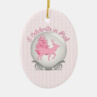 I Celebrate in Pink Ceramic Oval Ornament