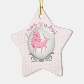 I Celebrate in Pink Ceramic Star Ornament