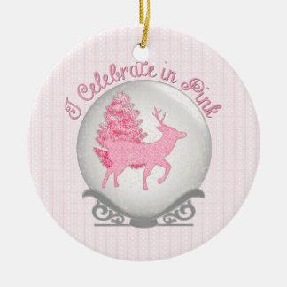 I Celebrate in Pink Round Ceramic Ornament